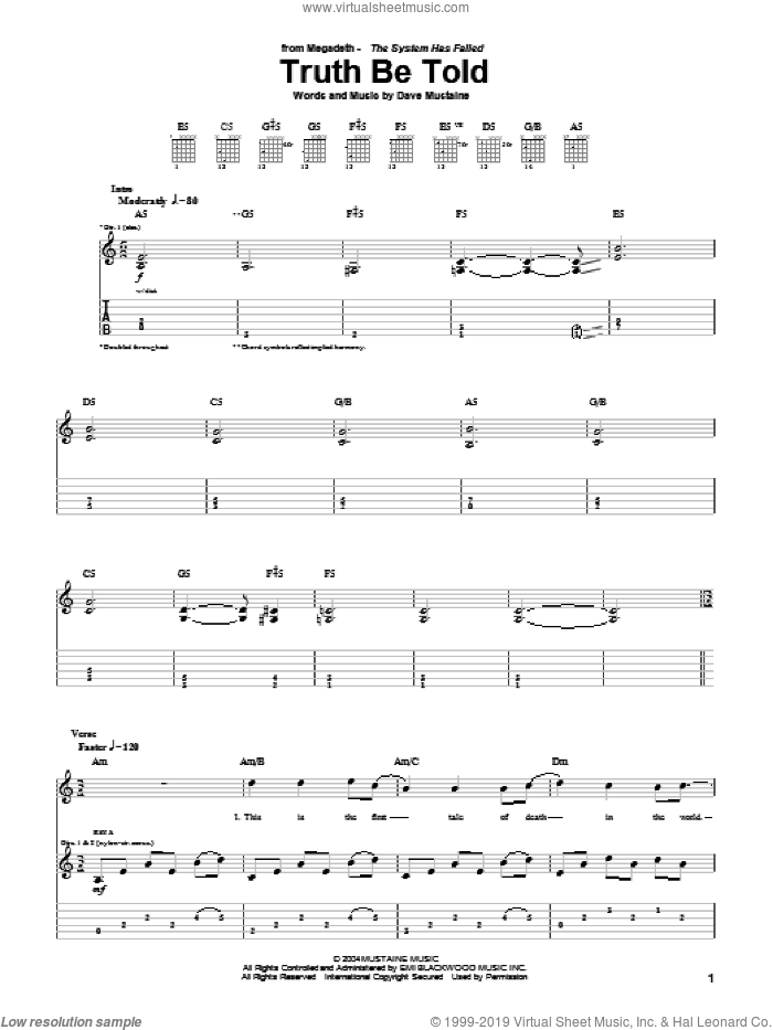Truth Be Told sheet music for guitar (tablature) by Megadeth and Dave Mustaine, intermediate skill level