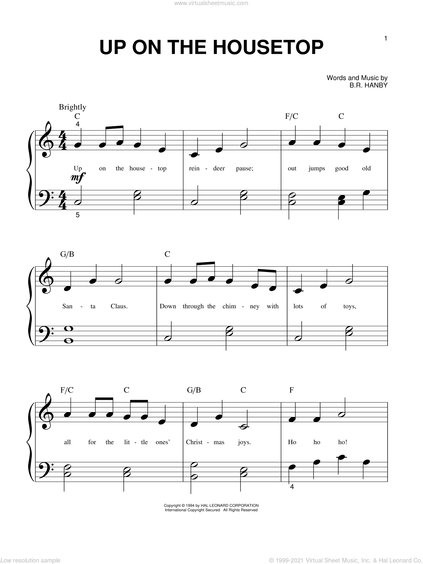 Up On The Housetop sheet music for piano solo (big note book) by Benjamin Hanby, easy piano (big note book)