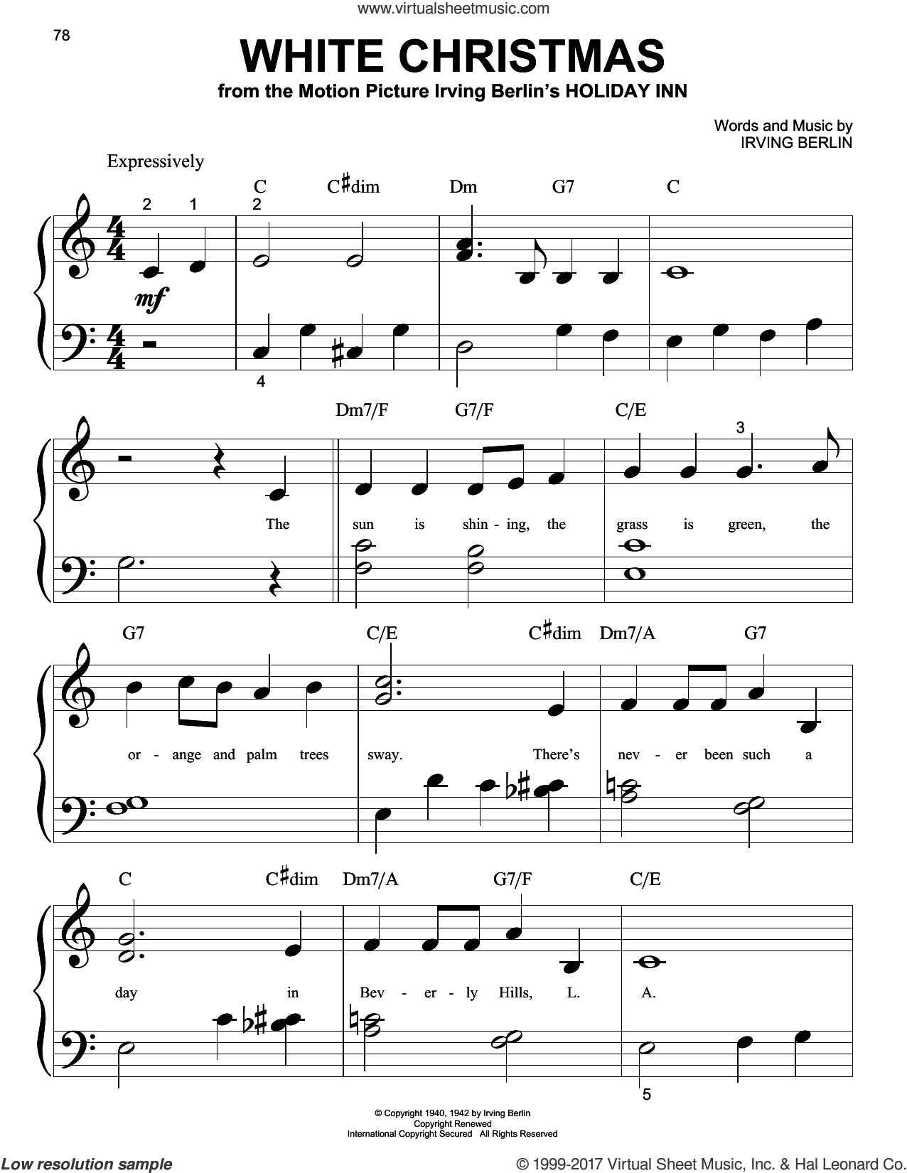 White Christmas sheet music for piano solo (big note book) by Irving Berlin, easy piano (big note book)