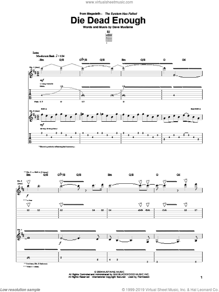 Die Dead Enough sheet music for guitar (tablature) by Megadeth and Dave Mustaine, intermediate