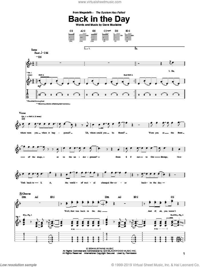 Back In The Day sheet music for guitar (tablature) by Dave Mustaine and Megadeth. Score Image Preview.