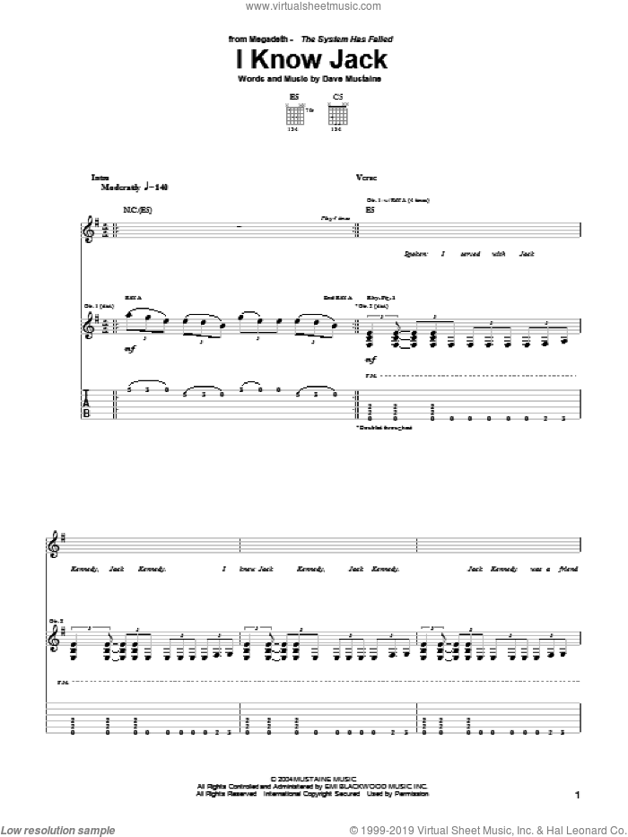I Know Jack sheet music for guitar (tablature) by Dave Mustaine and Megadeth. Score Image Preview.