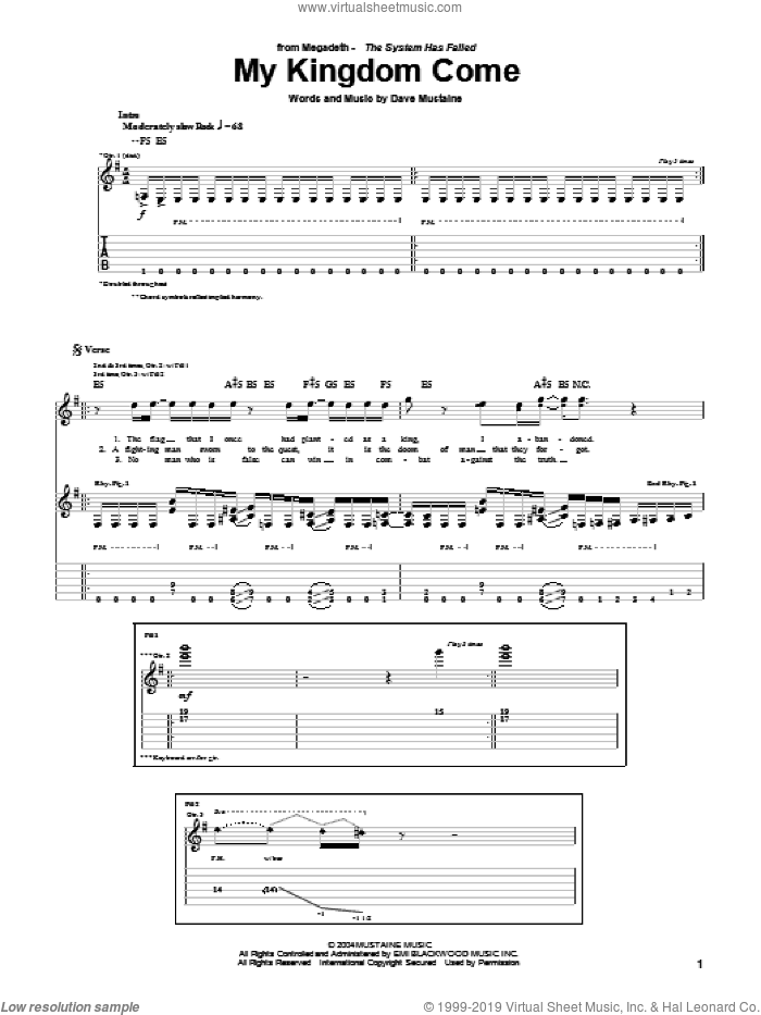 My Kingdom Come sheet music for guitar (tablature) by Dave Mustaine and Megadeth. Score Image Preview.