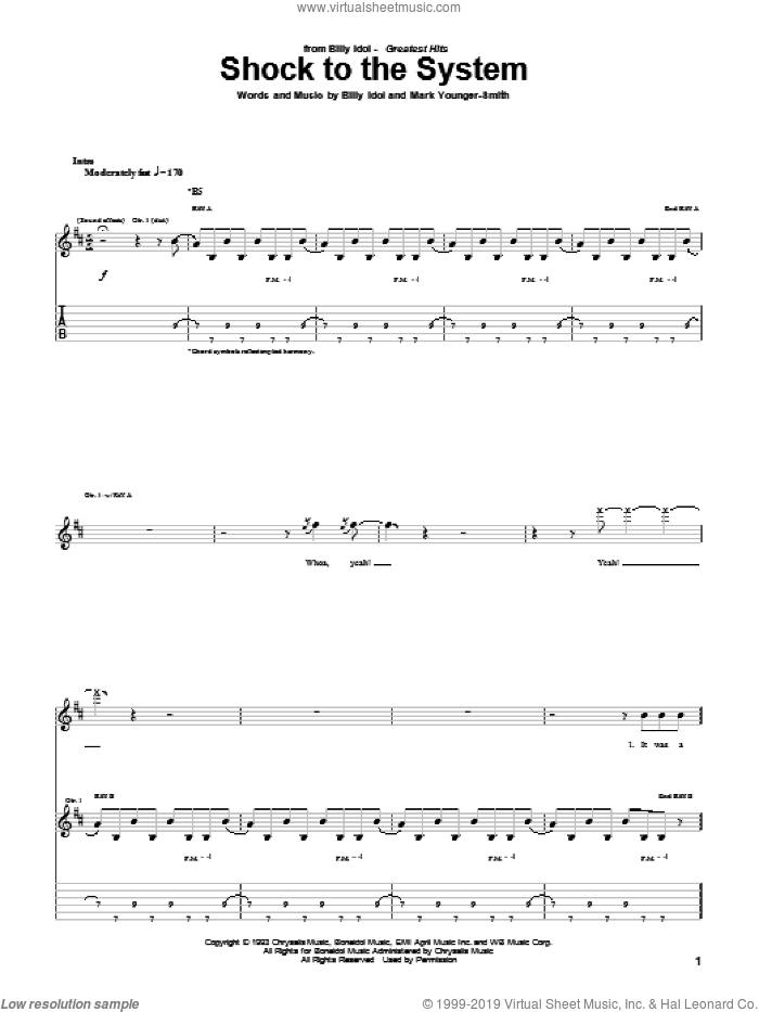 Shock To The System sheet music for guitar (tablature) by Billy Idol. Score Image Preview.