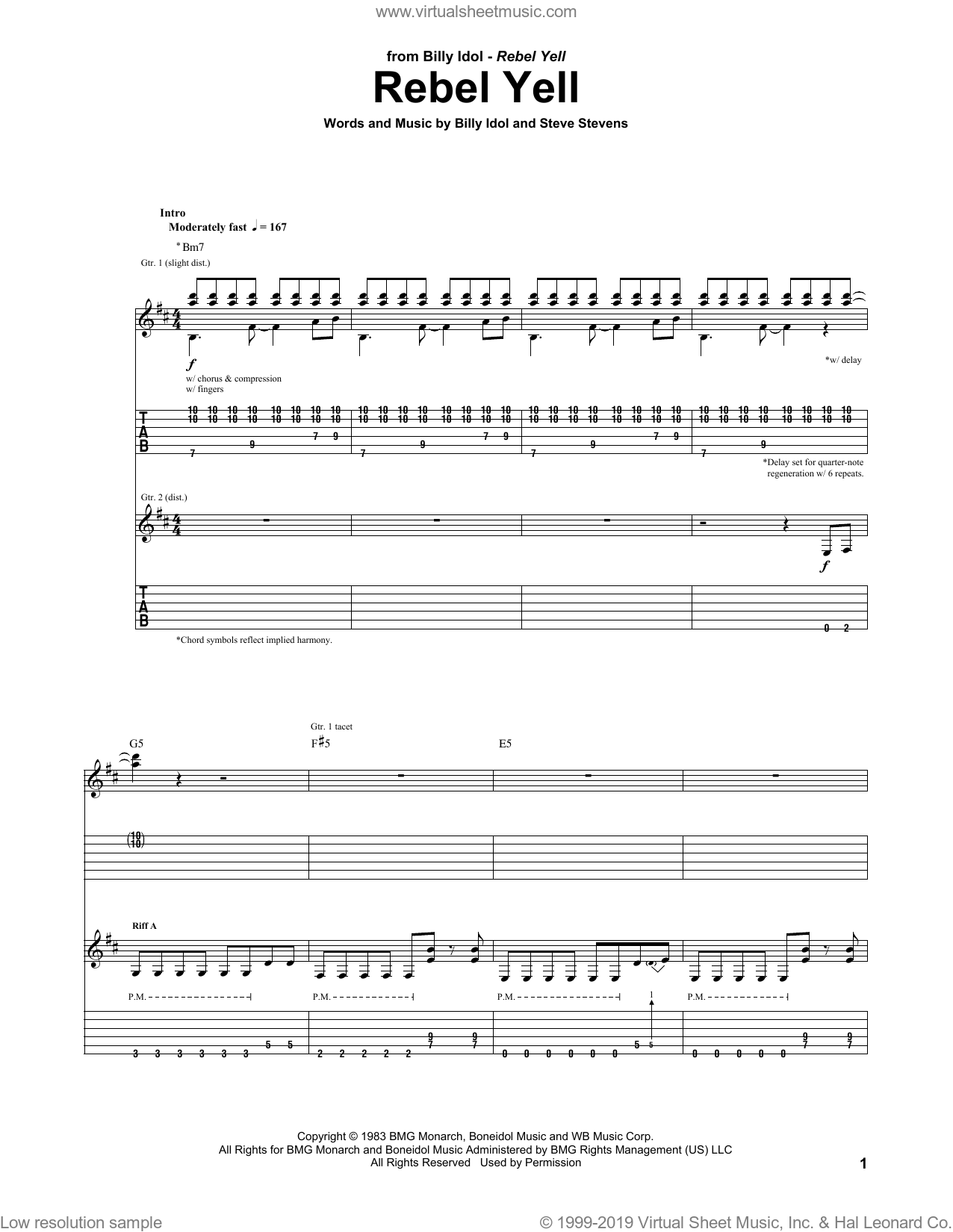 Rebel Yell sheet music for guitar (tablature) by Billy Idol and Steve Stevens, intermediate. Score Image Preview.