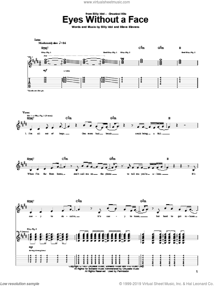 Eyes Without A Face sheet music for guitar (tablature) by Steve Stevens and Billy Idol. Score Image Preview.