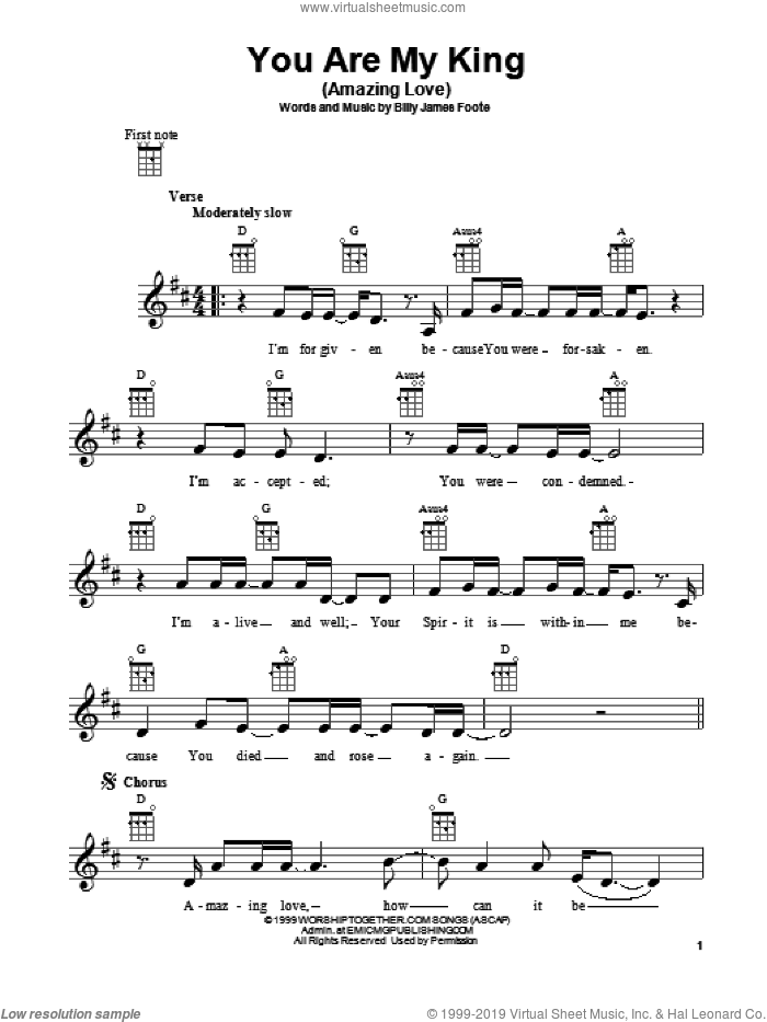 You Are My King (Amazing Love) sheet music for ukulele by Newsboys and Billy Foote. Score Image Preview.