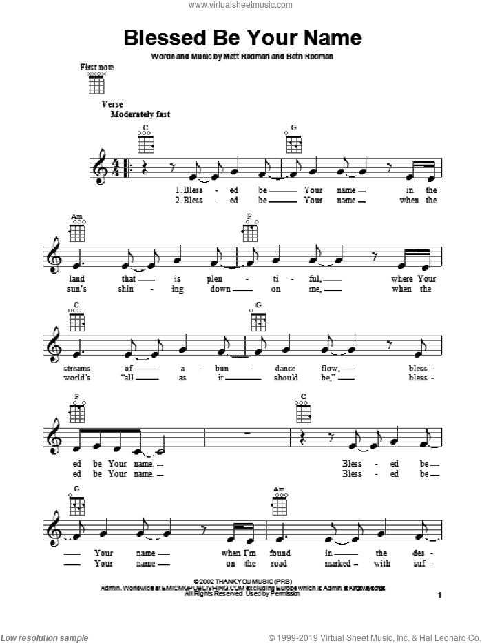 Blessed Be Your Name sheet music for ukulele by Matt Redman and Beth Redman, intermediate skill level