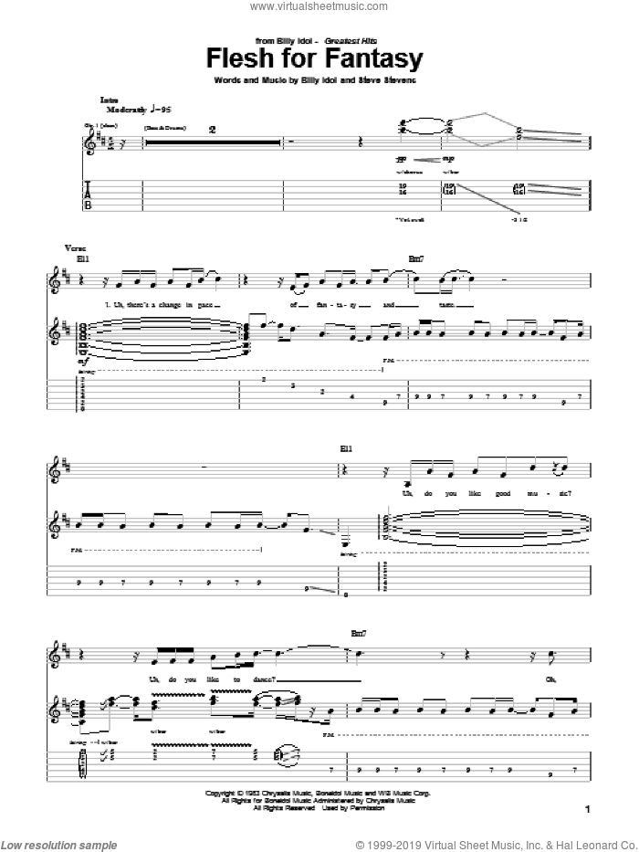 Flesh For Fantasy sheet music for guitar (tablature) by Steve Stevens and Billy Idol. Score Image Preview.