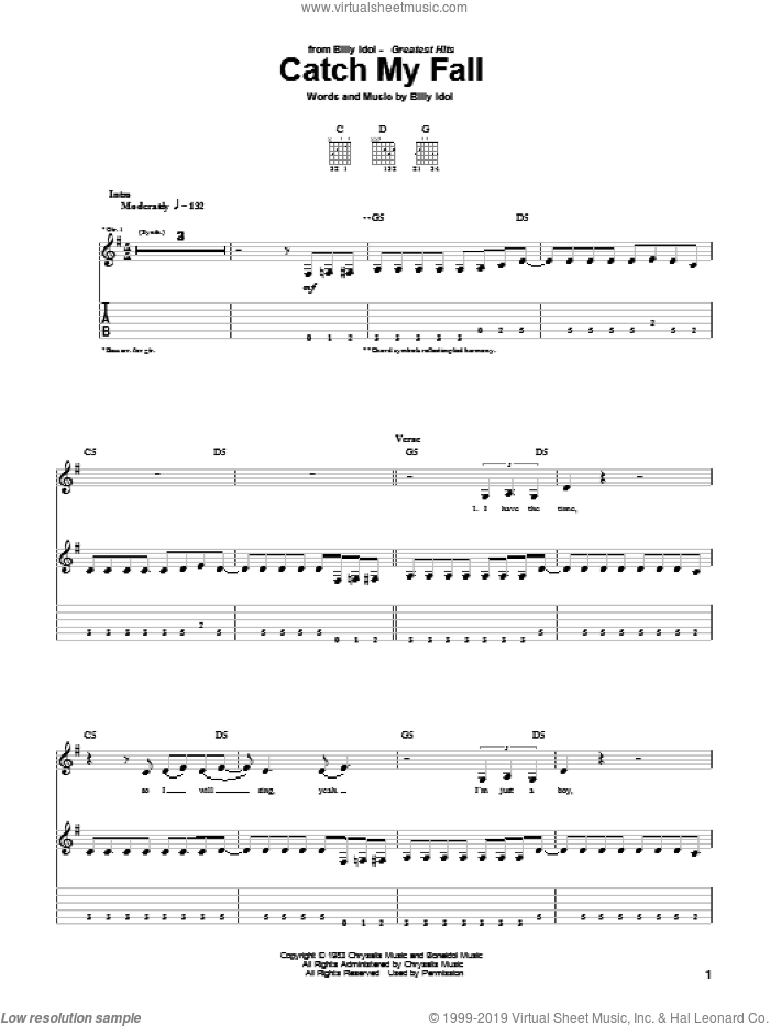 Catch My Fall sheet music for guitar (tablature) by Billy Idol, intermediate. Score Image Preview.
