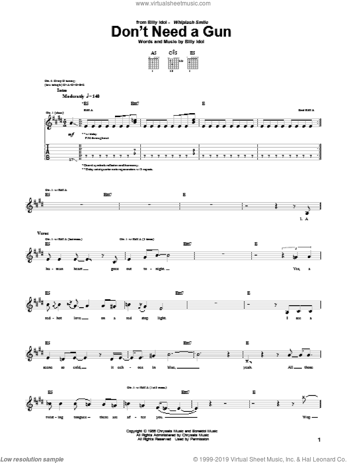 Don't Need A Gun sheet music for guitar (tablature) by Billy Idol, intermediate guitar (tablature). Score Image Preview.