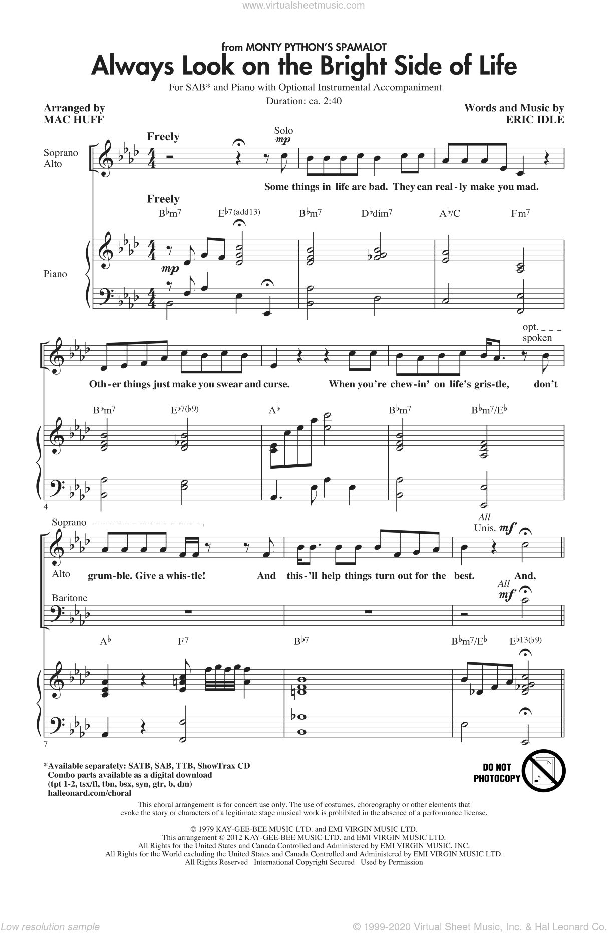 Always Look On The Bright Side Of Life sheet music for choir (SAB) by Eric Idle and Mac Huff, intermediate. Score Image Preview.