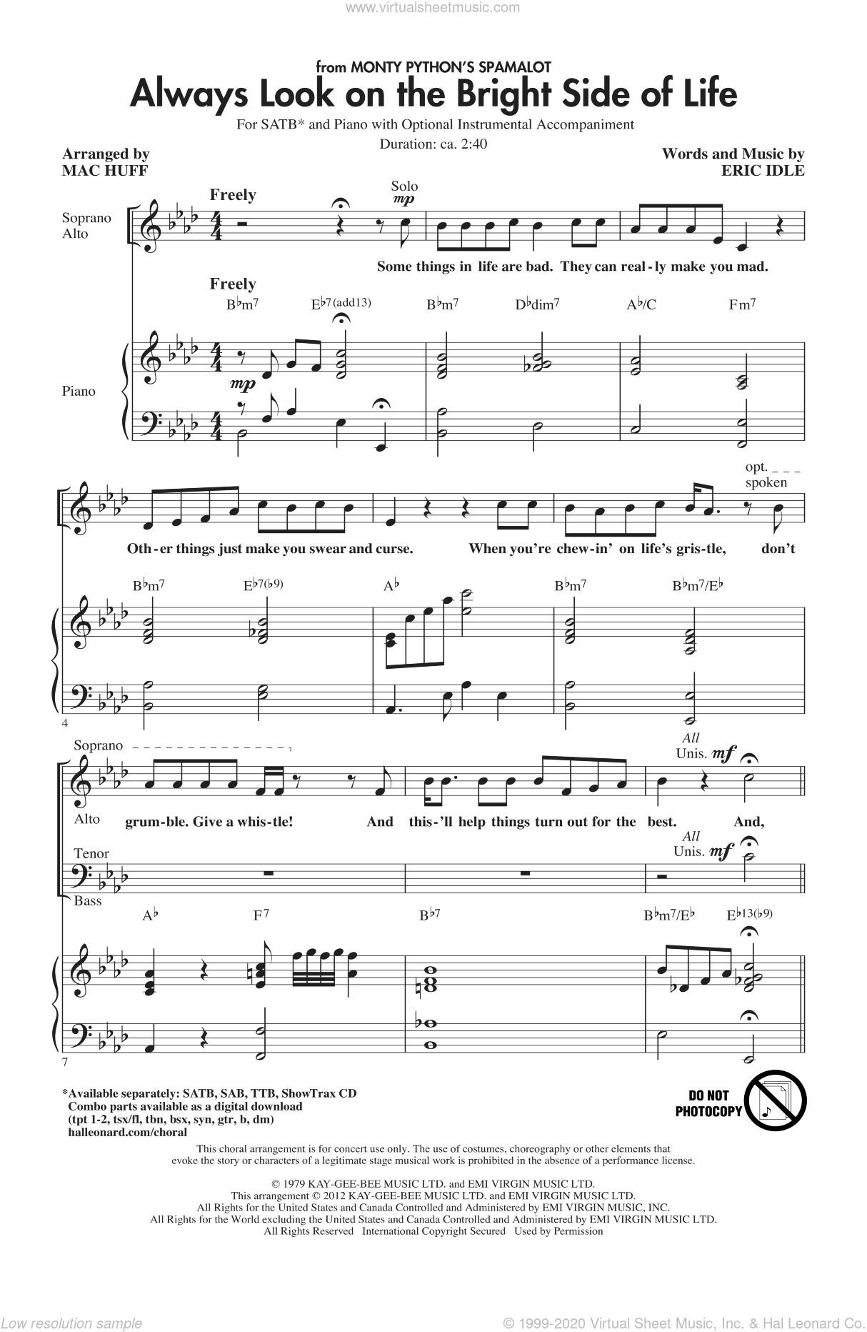 Always Look On The Bright Side Of Life sheet music for choir (SATB) by Eric Idle and Mac Huff. Score Image Preview.