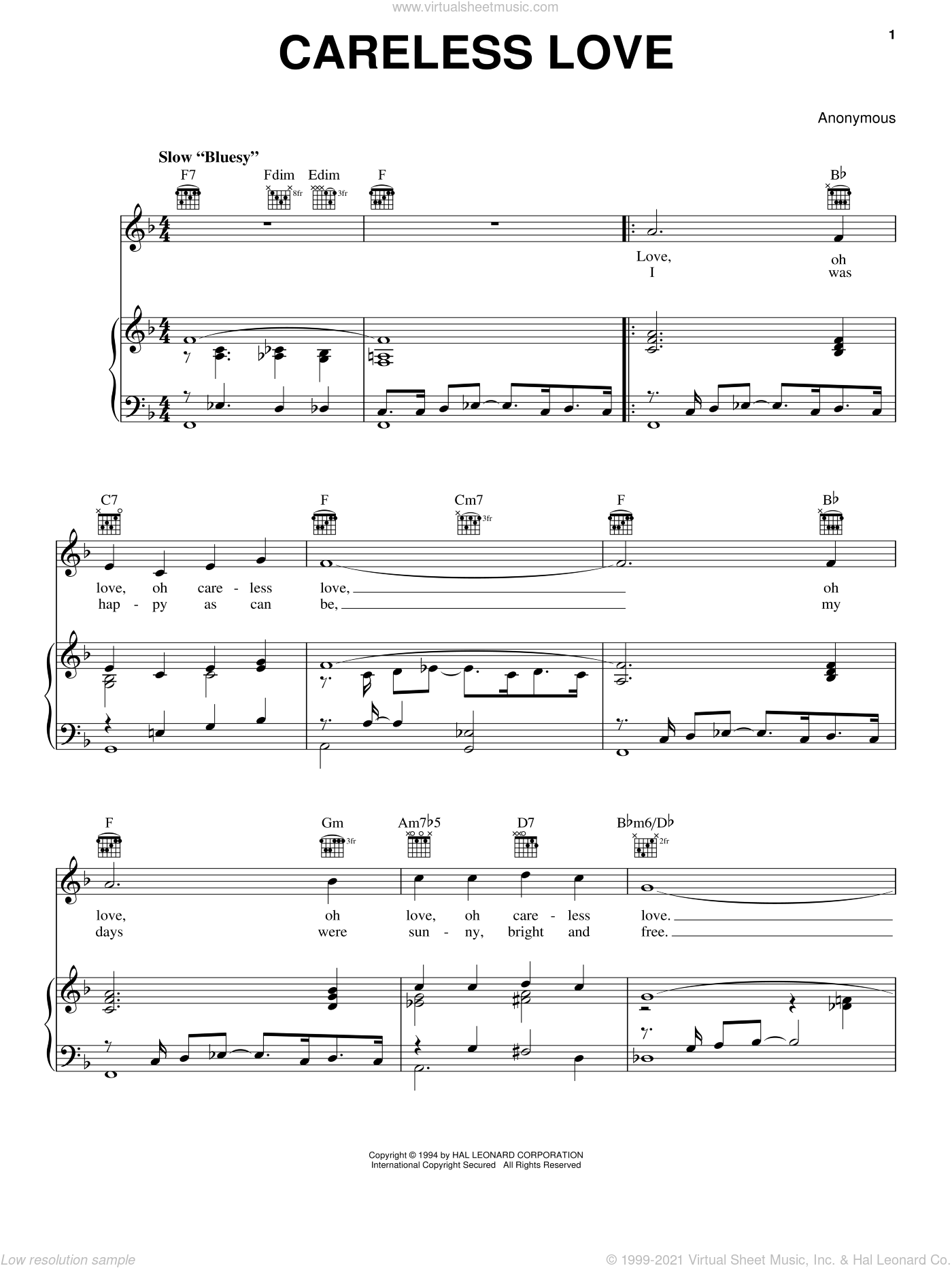 Careless Love sheet music for voice, piano or guitar by Anonymous, classical score, intermediate skill level