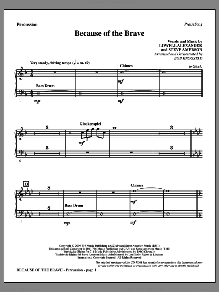 Because Of The Brave sheet music for orchestra/band (percussion) by Lowell Alexander