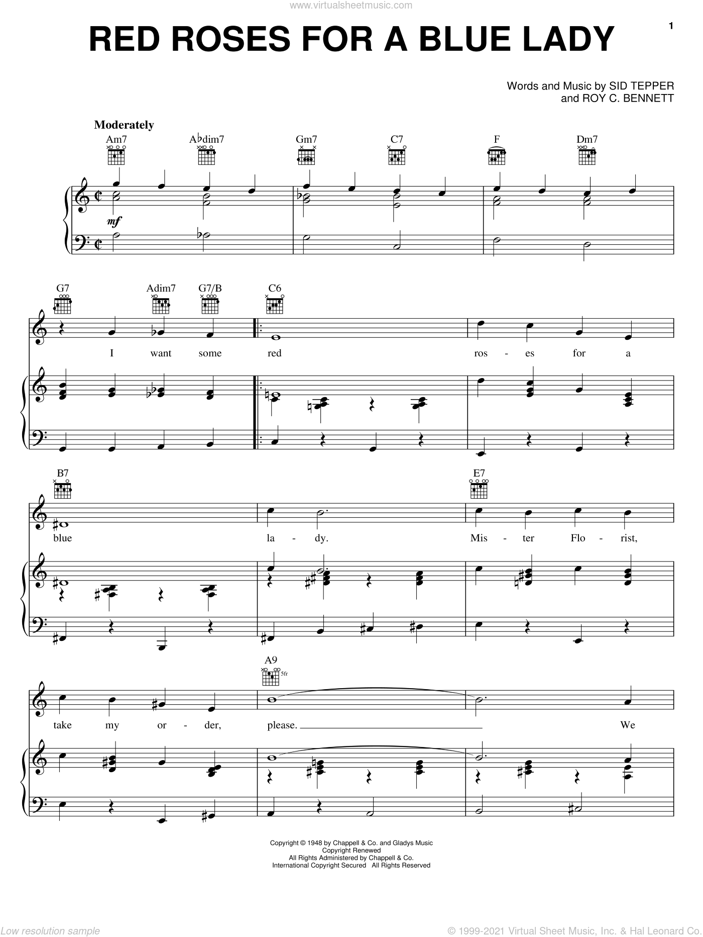 Red Roses For A Blue Lady sheet music for voice, piano or guitar by Sid Tepper