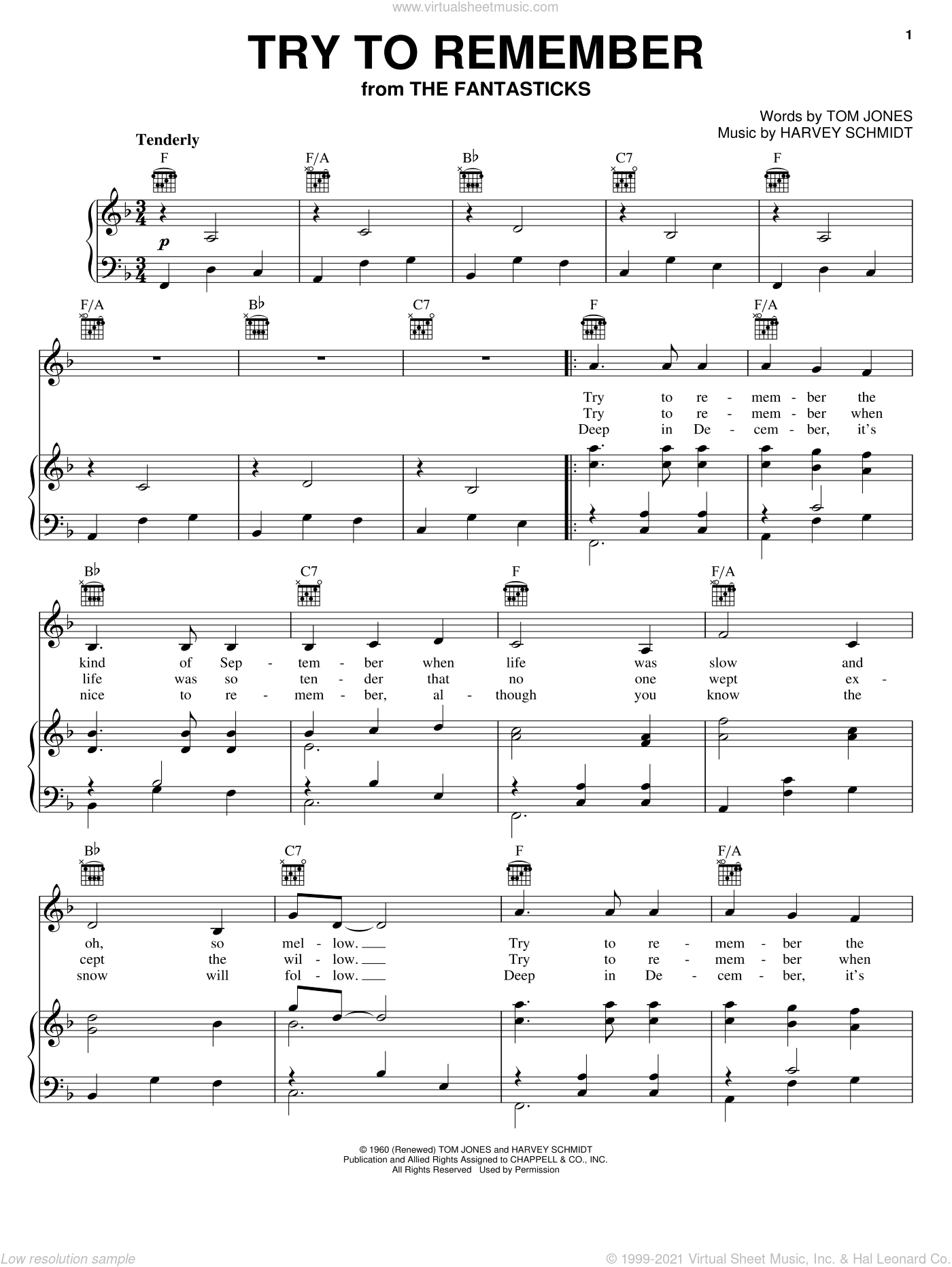 Try To Remember sheet music for voice, piano or guitar by Jerry Orbach, The Fantasticks (Musical), Harvey Schmidt and Tom Jones, intermediate skill level