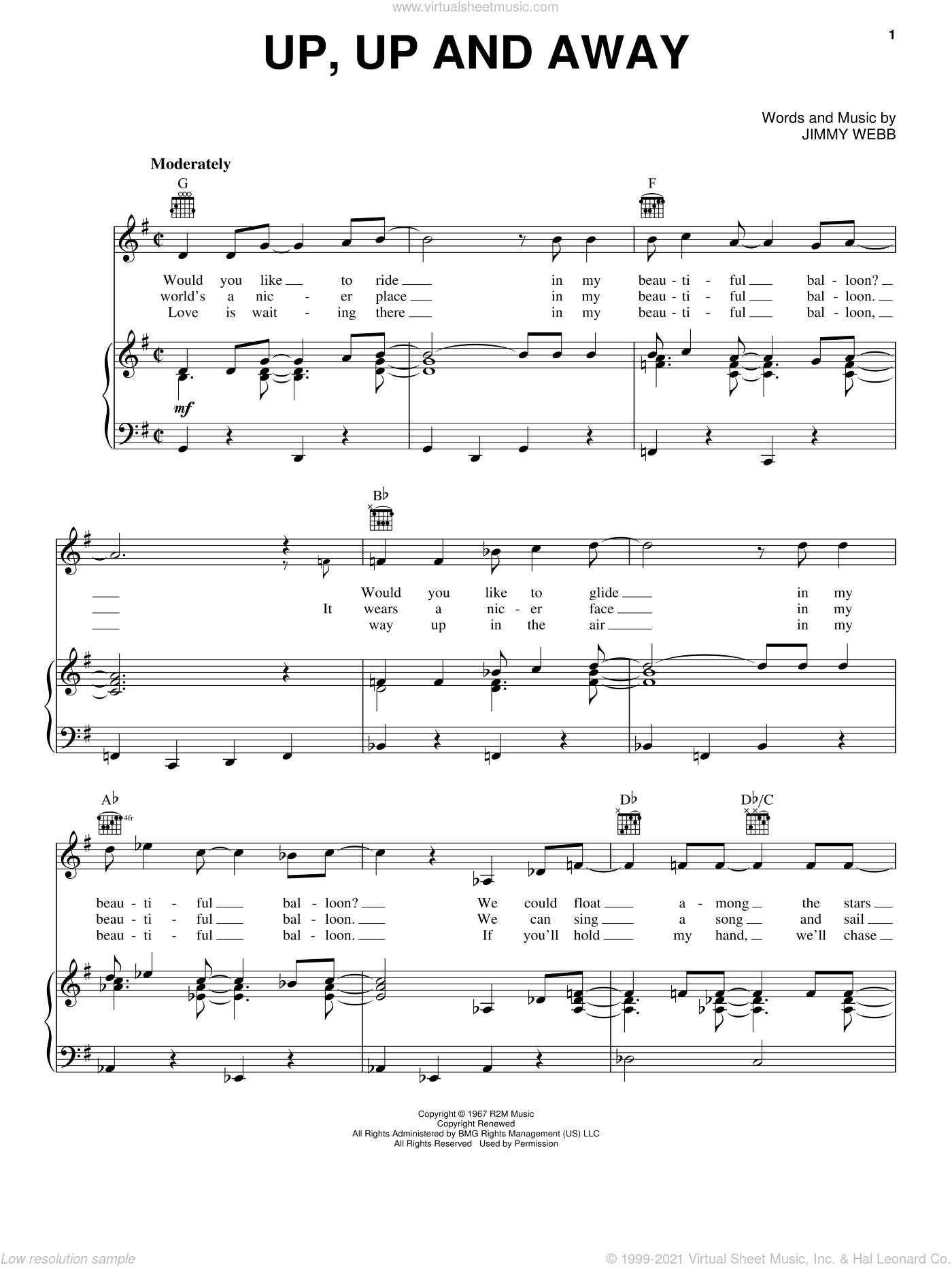 Up, Up And Away sheet music for voice, piano or guitar by The Fifth Dimension, Andy Williams, Sammy Davis, Jr. and Jimmy Webb, intermediate skill level