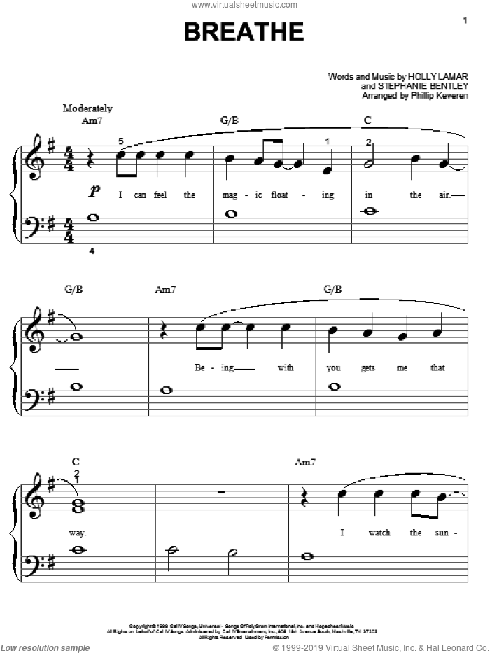 Breathe sheet music for piano solo (big note book) by Faith Hill and Holly Lamar. Score Image Preview.