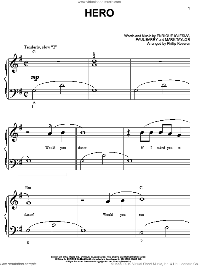 Hero sheet music for piano solo (big note book) by Enrique Iglesias, Mark Taylor and Paul Barry, easy piano (big note book)