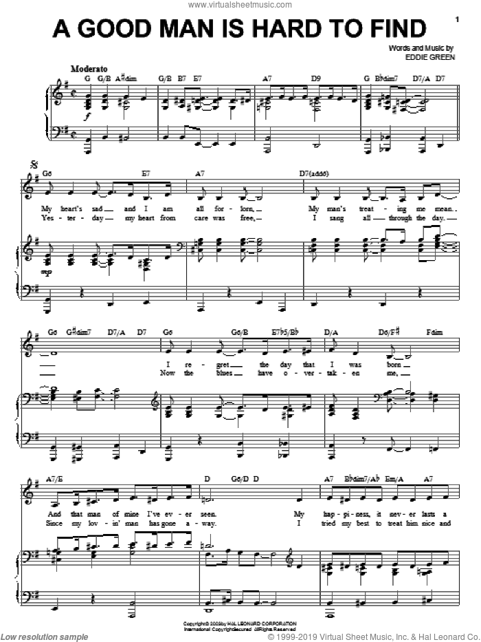 A Good Man Is Hard To Find sheet music for voice, piano or guitar by Eddie Green. Score Image Preview.