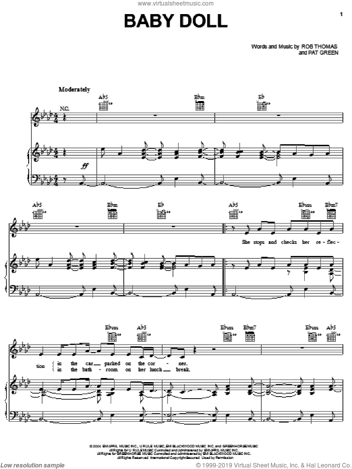 Baby Doll sheet music for voice, piano or guitar by Rob Thomas