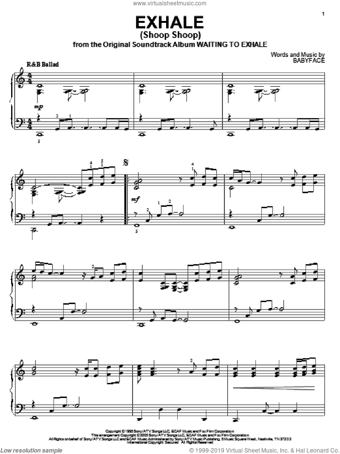 Exhale (Shoop Shoop) sheet music for piano solo by Whitney Houston and Babyface, intermediate skill level