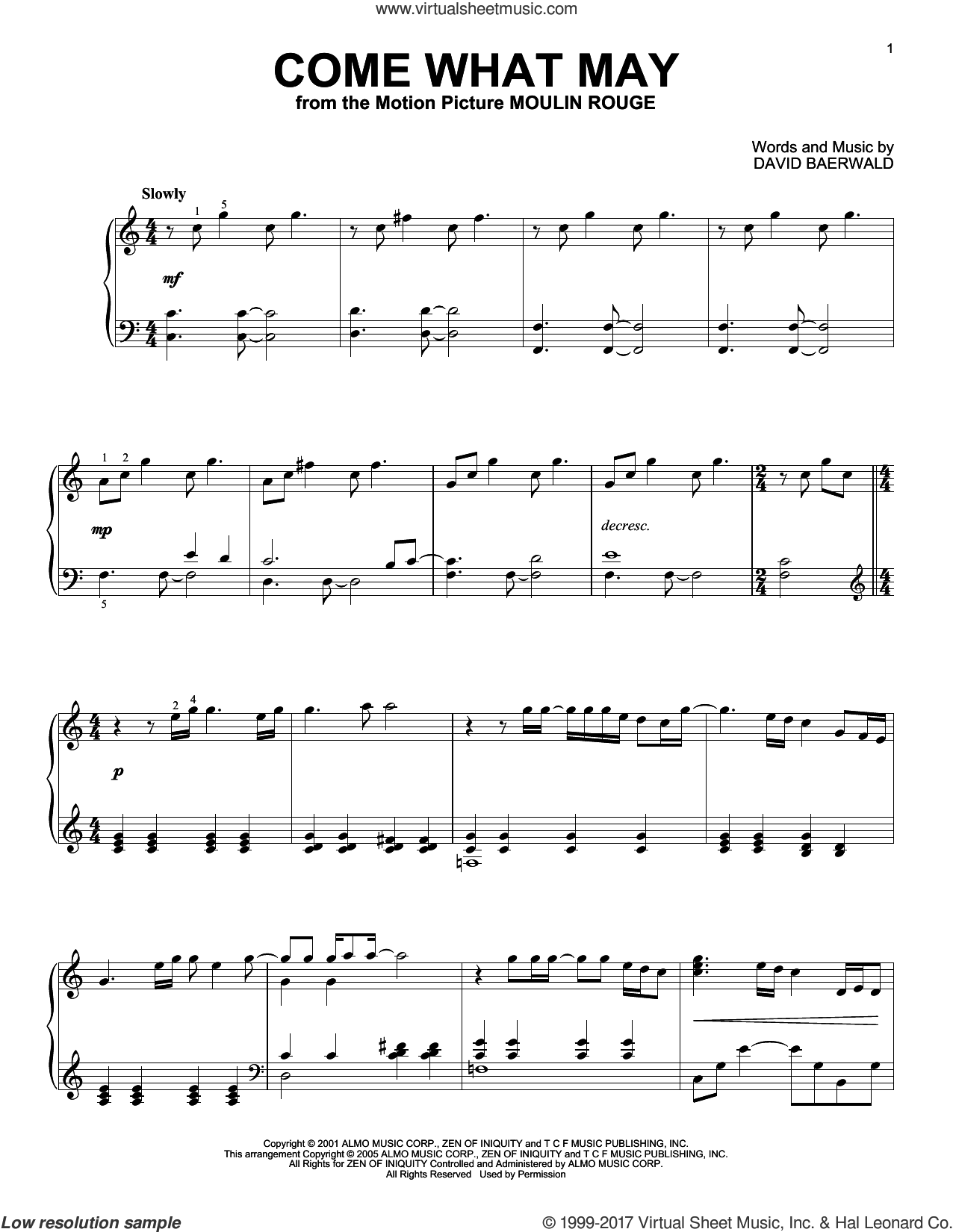 Come What May, (intermediate) sheet music for piano solo by Nicole Kidman and Ewan McGregor, Ewan McGregor, Moulin Rouge (Movie), Nicole Kidman and David Baerwald, intermediate skill level