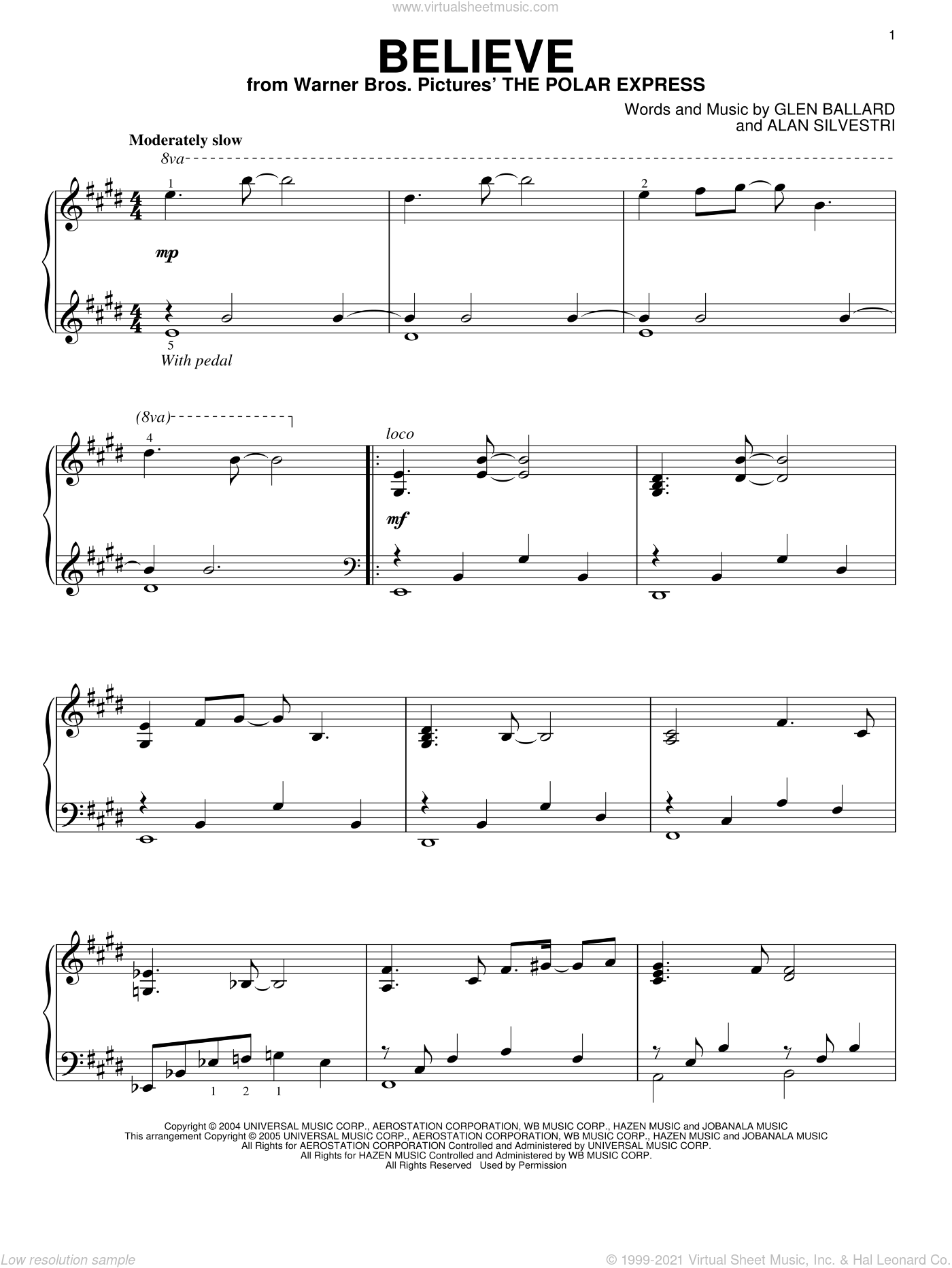 Believe sheet music for piano solo by Josh Groban, Alan Silvestri and Glen Ballard, Christmas carol score, intermediate piano. Score Image Preview.