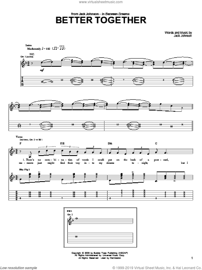Better Together sheet music for guitar (tablature) by Jack Johnson, intermediate. Score Image Preview.