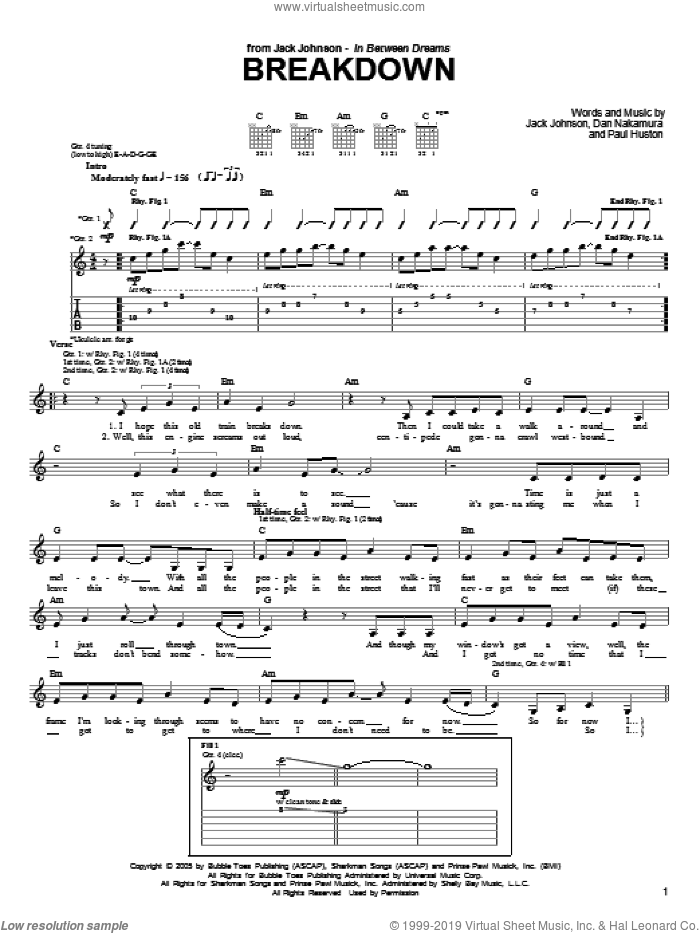 Breakdown sheet music for guitar (tablature) by Paul Huston and Jack Johnson. Score Image Preview.