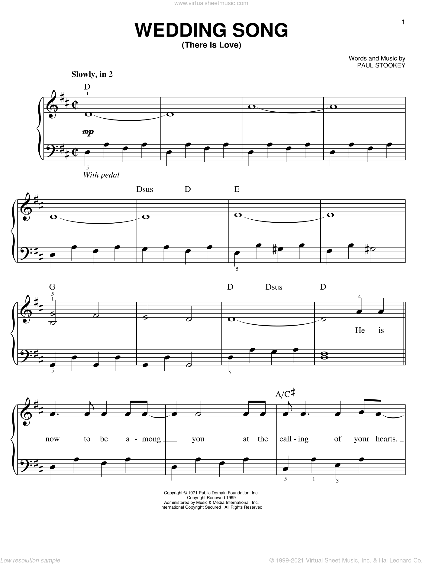Wedding Song (There Is Love), (easy) sheet music for piano solo by Peter, Paul & Mary, Petula Clark and Paul Stookey, wedding score, easy skill level