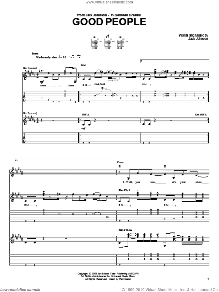 Good People sheet music for guitar (tablature) by Jack Johnson. Score Image Preview.
