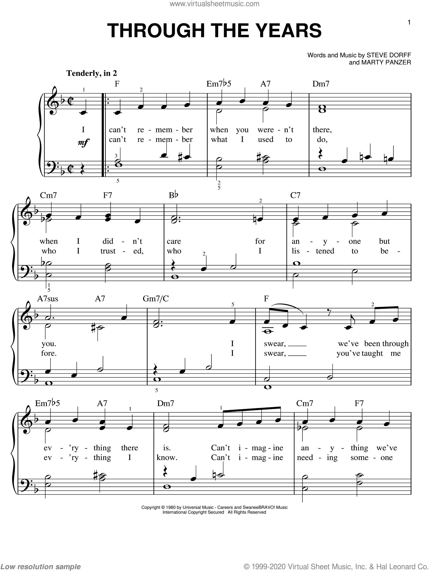 Through The Years, (easy) sheet music for piano solo by Kenny Rogers, Marty Panzer and Steve Dorff, wedding score, easy skill level