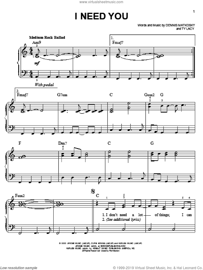 I Need You sheet music for piano solo (chords) by Ty Lacy
