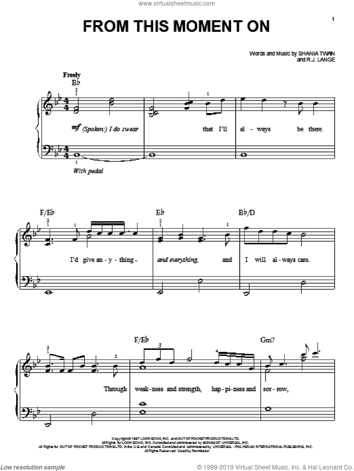 From This Moment On sheet music for piano solo by Robert John Lange and Shania Twain. Score Image Preview.