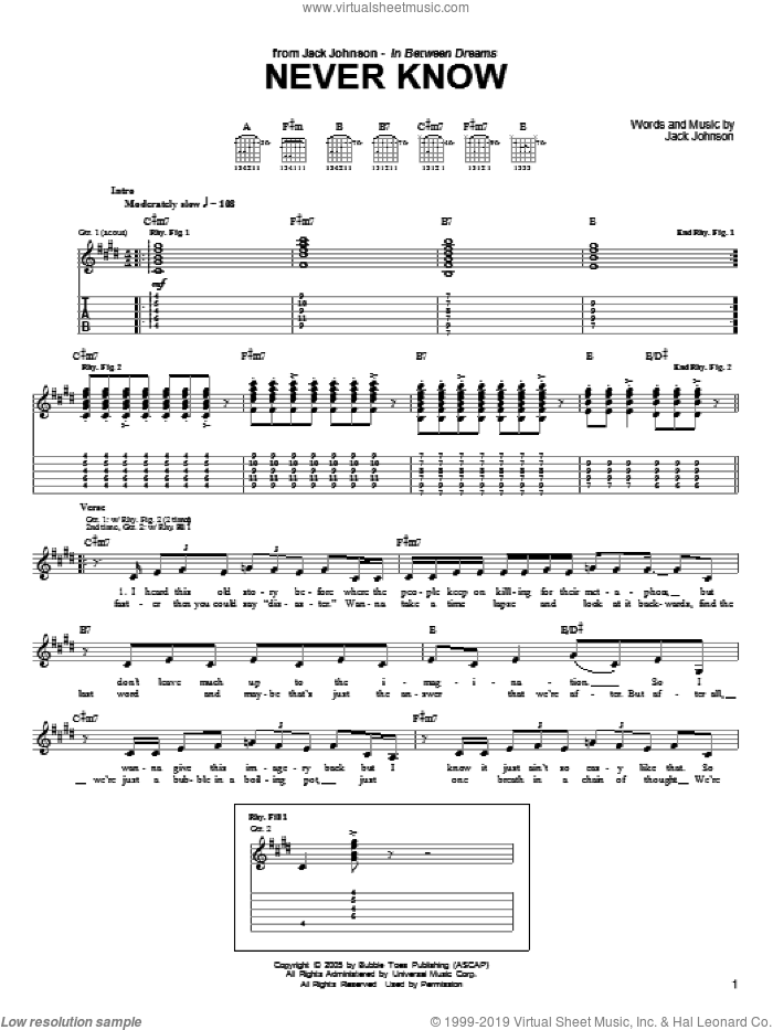 Never Know sheet music for guitar (tablature) by Jack Johnson. Score Image Preview.