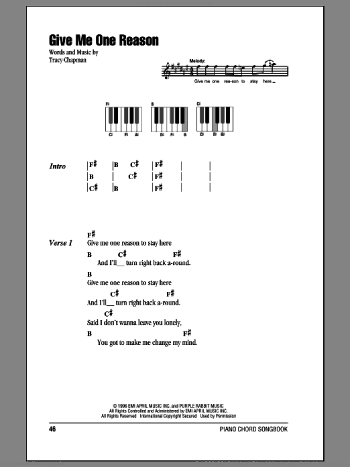 Give Me One Reason sheet music for piano solo (chords, lyrics, melody) by Tracy Chapman, intermediate piano (chords, lyrics, melody)
