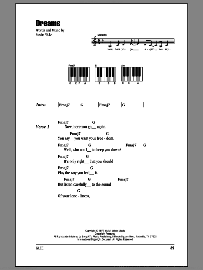 Dreams sheet music for piano solo (chords, lyrics, melody) by Fleetwood Mac and Stevie Nicks, intermediate piano (chords, lyrics, melody)