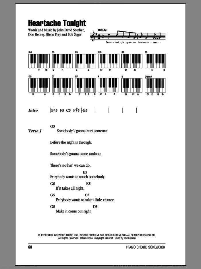 Heartache Tonight sheet music for piano solo (chords, lyrics, melody) by Eagles, Bob Seger, Don Henley, Glenn Frey and John David Souther. Score Image Preview.