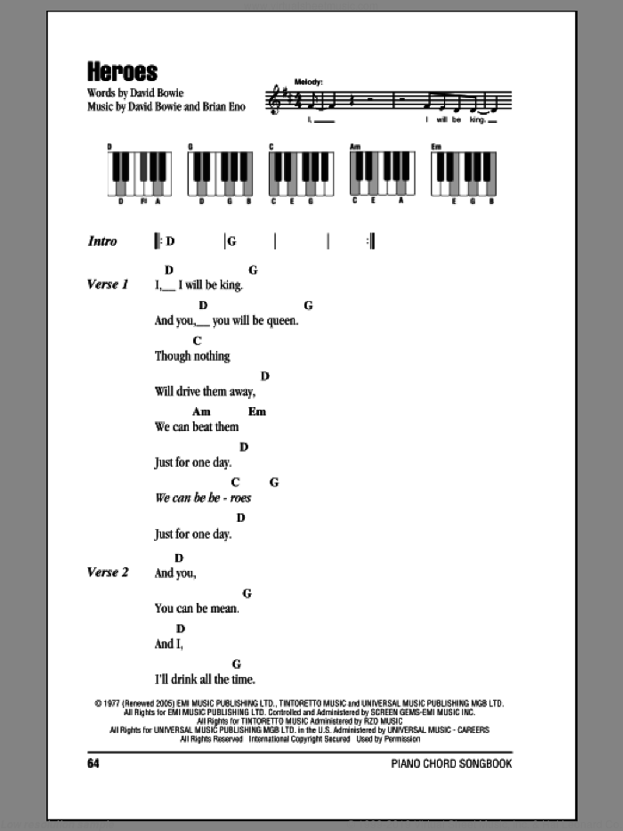 Heroes sheet music for piano solo (chords, lyrics, melody) by Brian Eno and David Bowie. Score Image Preview.