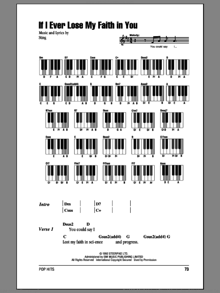 If I Ever Lose My Faith In You sheet music for piano solo (chords, lyrics, melody) by Sting, intermediate piano (chords, lyrics, melody)