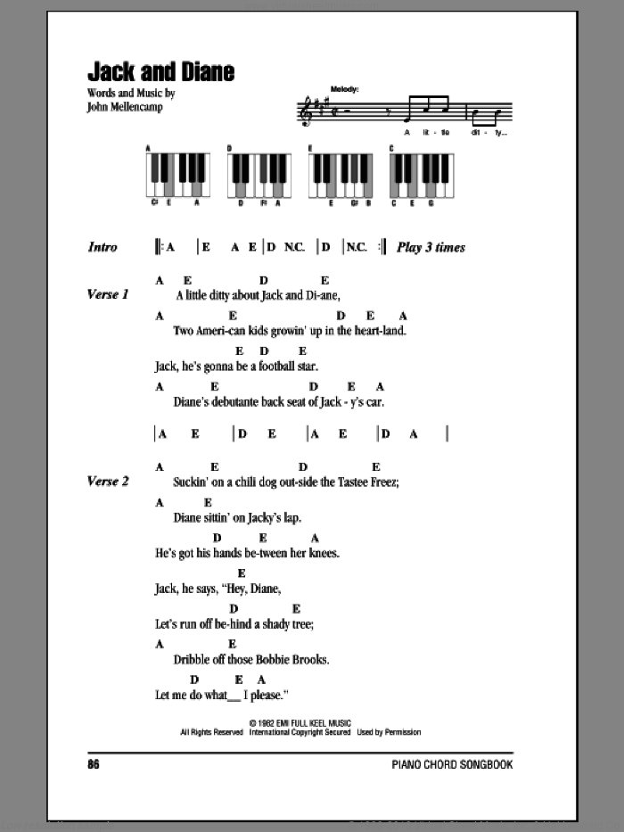 Jack And Diane sheet music for piano solo (chords, lyrics, melody) by John Mellencamp. Score Image Preview.