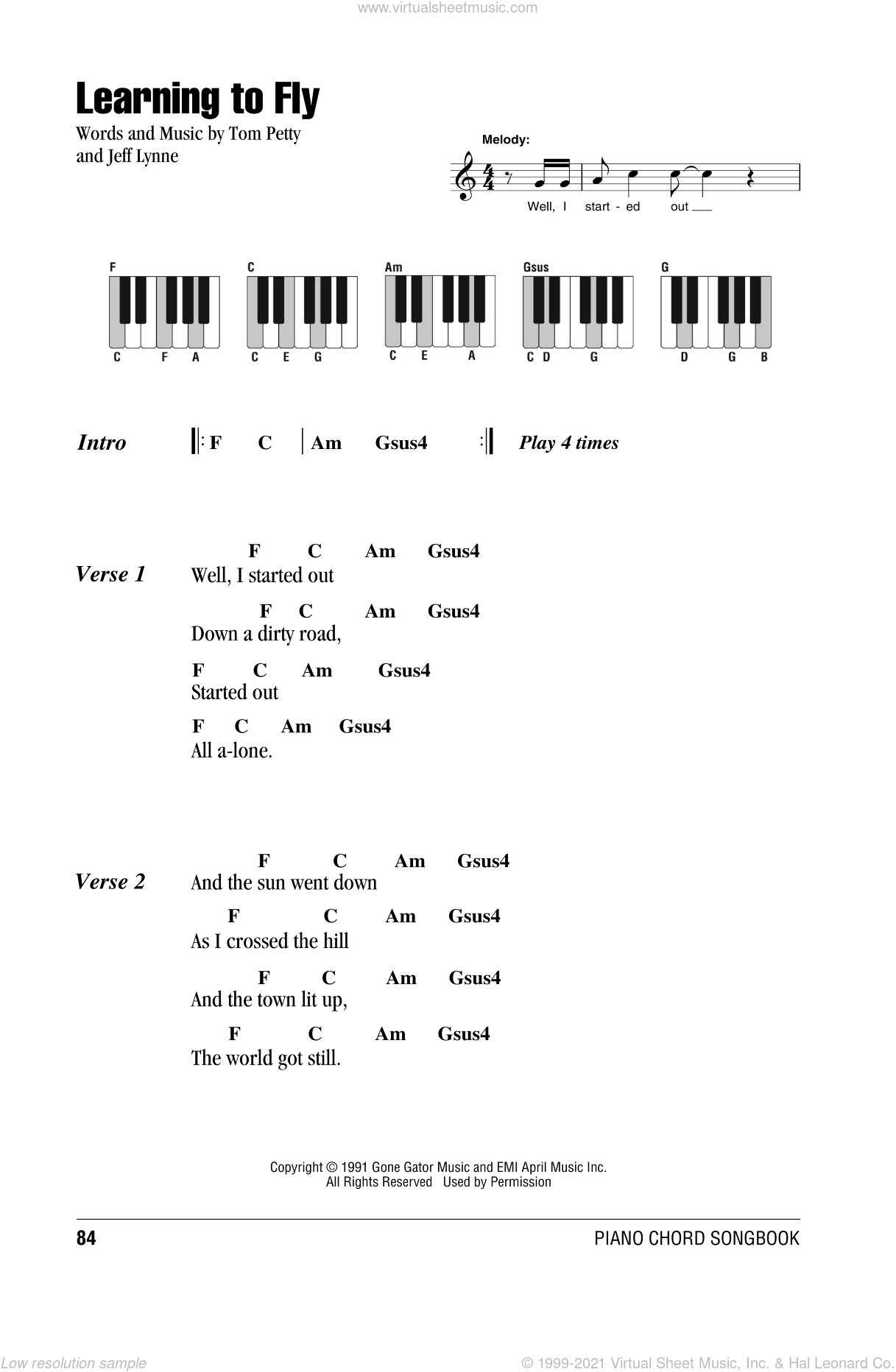 Learning To Fly sheet music for piano solo (chords, lyrics, melody) by Jeff Lynne and Tom Petty And The Heartbreakers. Score Image Preview.