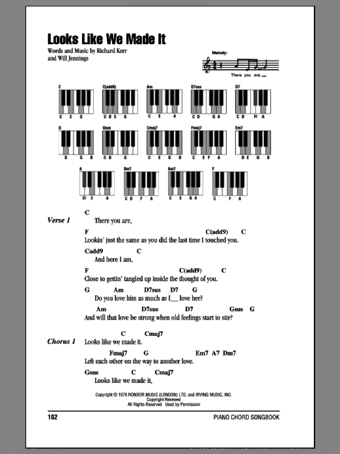 Looks Like We Made It sheet music for piano solo (chords, lyrics, melody) by Will Jennings and Barry Manilow. Score Image Preview.