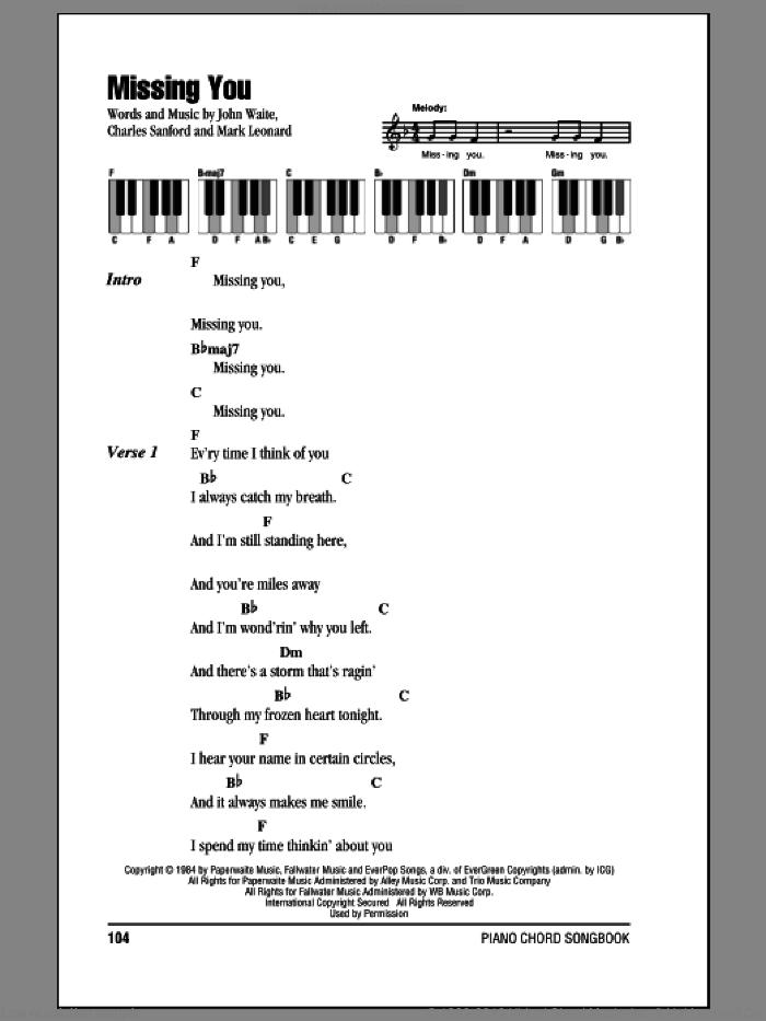 Missing You sheet music for piano solo (chords, lyrics, melody) by John Waite, Charles Sanford and Mark Leonard, intermediate piano (chords, lyrics, melody)