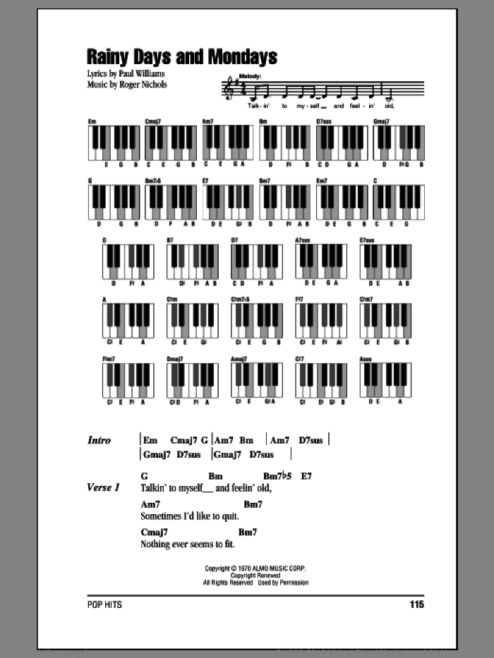 Rainy Days And Mondays sheet music for piano solo (chords, lyrics, melody) by Carpenters, Paul Williams and Roger Nichols, intermediate piano (chords, lyrics, melody). Score Image Preview.