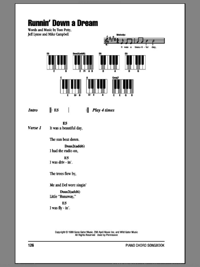 Runnin' Down A Dream sheet music for piano solo (chords, lyrics, melody) by Tom Petty, Jeff Lynne and Mike Campbell, intermediate piano (chords, lyrics, melody)