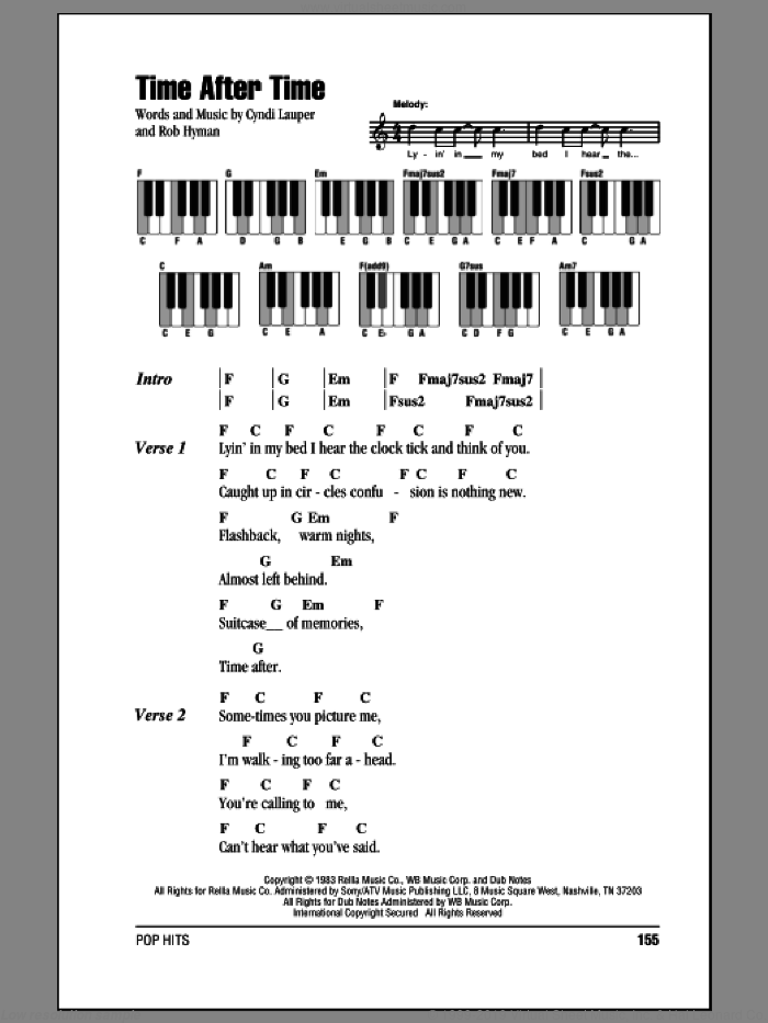 Time After Time sheet music for piano solo (chords, lyrics, melody) by Rob Hyman and Cyndi Lauper. Score Image Preview.