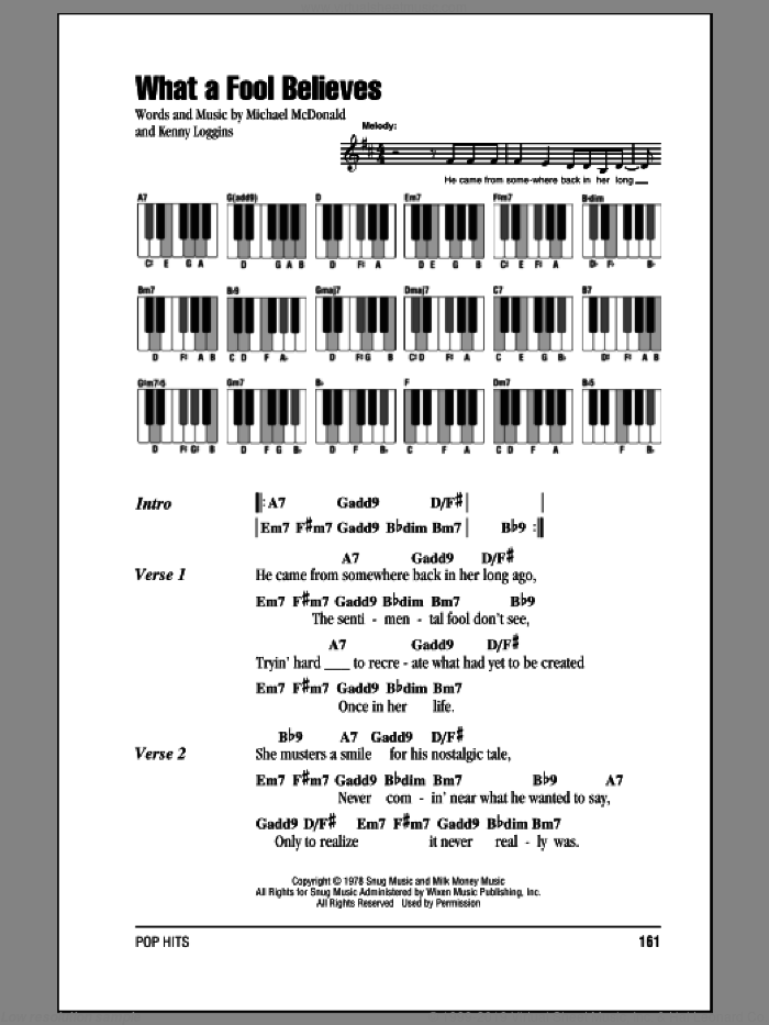 What A Fool Believes sheet music for piano solo (chords, lyrics, melody) by The Doobie Brothers, Kenny Loggins and Michael McDonald, intermediate piano (chords, lyrics, melody)